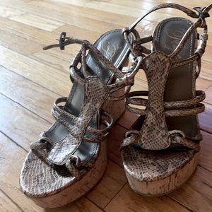 Fergie women's straps snakeskin wedge sandals 7.5